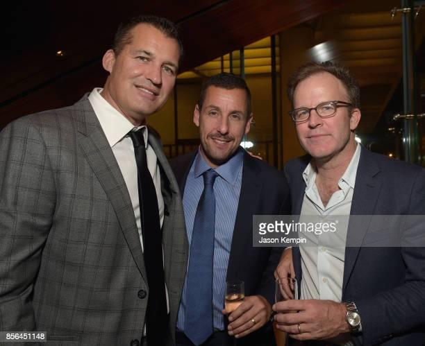 VP of Original Films at Netflix Scott Stuber Adam Sandler and director Tom McCarthy attend the New York Film Festival screening of The Meyerowitz...