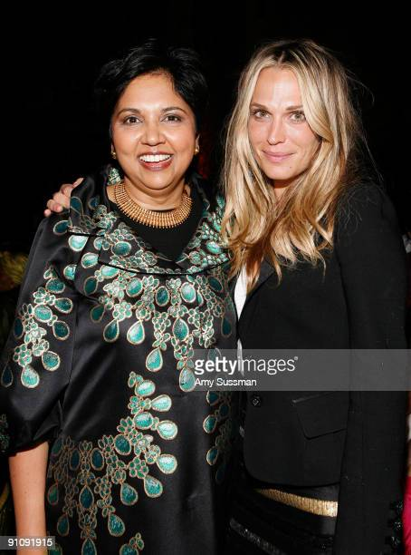 CEO of PepsiCo Indra Nooyi and actress Molly Sims attend the 4th Important Dinner for Women hosted by HM Queen Rania Al Abdullah Wendi Murdoch and...