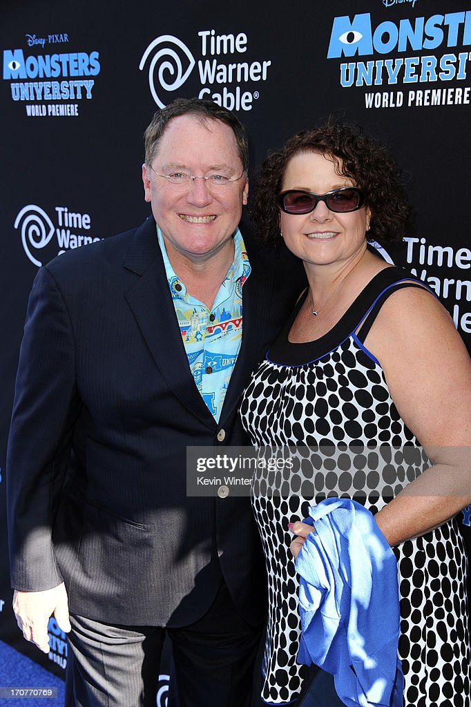 COO of Pixar/Walt Disney Animation Studios <a gi-track='captionPersonalityLinkClicked' href=/galleries/search?phrase=John+Lasseter&family=editorial&specificpeople=224003 ng-click='$event.stopPropagation()'>John Lasseter</a> and wife Nancy attend the world premiere of Disney Pixar's 'Monsters University' at the El Capitan Theatre on June 17, 2013 in Hollywood, California.