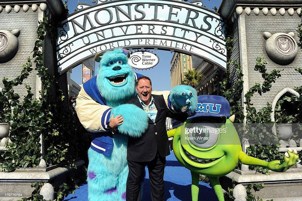 COO of Pixar/Walt Disney Animation Studios John Lasseter attends the world premiere of Disney Pixar's 'Monsters University' at the El Capitan Theatre...