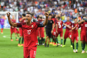 NANI of Portugal celebrates during the European Championship Final between Portugal and France at Stade de France on July 10 2016 in Paris France