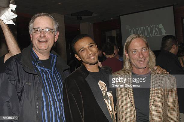 VP of Production Keith Crawford creator/executive producer Aaron McGruder and SVP Adult Swim Mike Lazzo attend the Los Angeles Launch Party for the...