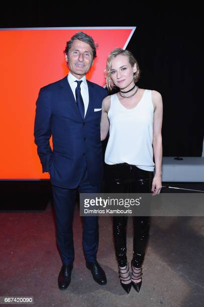 CEO of quattro GmbH Stephan Winkelmann and Diane Kruger attend the Audi Sport exclusive launch event at Highline Stages on April 11 2017 in New York...