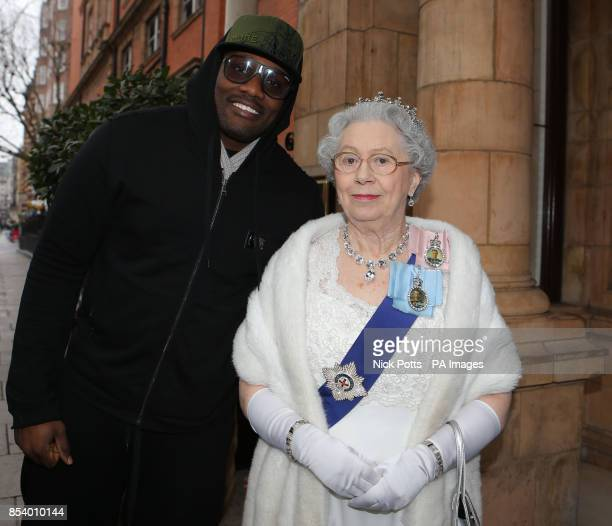 NAME of Queen Elizabeth lookalike Mary Reynolds** Queen Elizabeth lookalike Elizabeth Richard poses with boxer Dereck Chisora following a press...