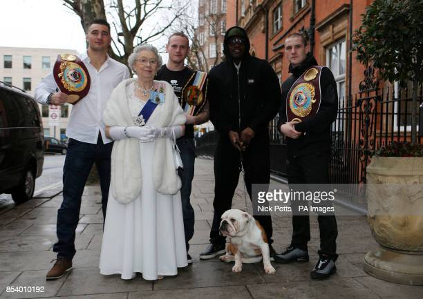 NAME of Queen Elizabeth lookalike Mary Reynolds** Queen Elizabeth lookalike Mary Reynolds poses with boxers Nathan Cleverley George Groves Dereck...