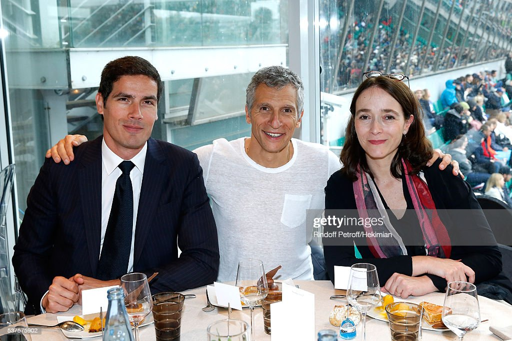 CEO of Radio France Mathieu Gallet, TV host Nagui and President of France Television, Delphine Ernotte attend the 'France Television' Lunch during Day Twelve of the 2016 French Tennis Open at Roland Garros on June 2, 2016 in Paris, France.