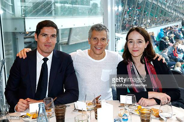 CEO of Radio France Mathieu Gallet TV host Nagui and President of France Television Delphine Ernotte attend the 'France Television' Lunch during Day...