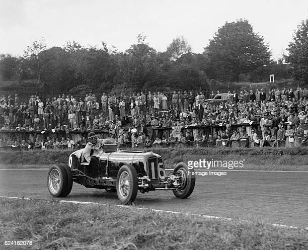 ERA of Raymond Mays racing at Crystal Palace London 1939 Artist Bill BrunellERA 1980S cc Event Entry No 16 Driver Mays R Retired with a puncture...