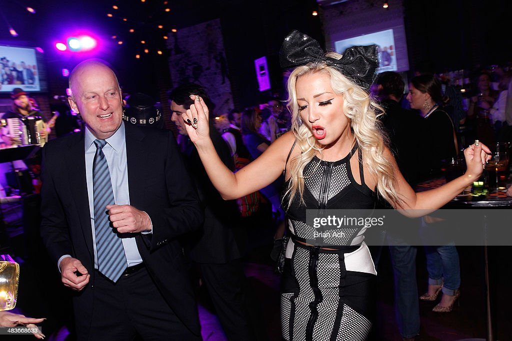 CEO of Reelz Stan E. Hubbard and Georgina Leahy of Treasure King attend the REELZ Channel upfront presentation at Hudson Hotel on April 9, 2014 in New York City.