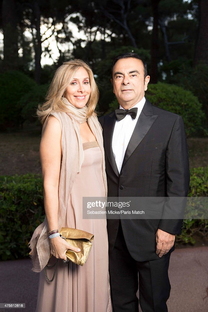 CEO of Renault, Carlos Ghosn with his with Rita attend the 22nd Gala for AmFar Cinema Against AIDS. Photographed for Paris Match at the Cap-Eden-Roc hotel on May 21, 2015 in Cap d'Antibes, France.