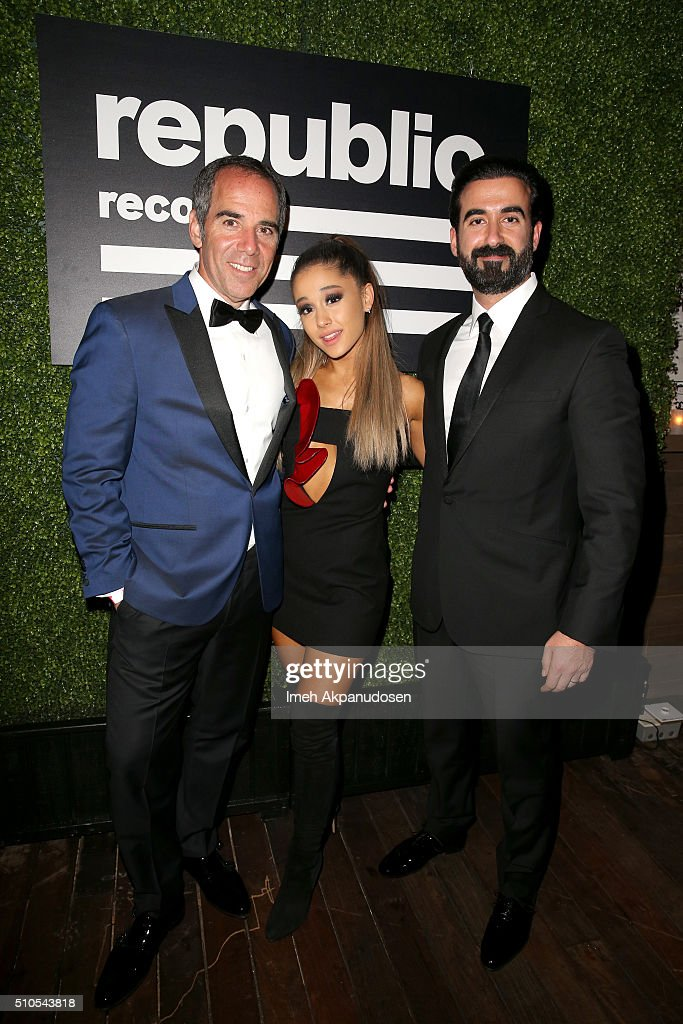 CEO of Republic Records Monte Lipman, Recording artist Ariana Grande, and Ayman Hariri attend the Republic Records Grammy Celebration presented by Chromecast Audio at Hyde Sunset Kitchen & Cocktail on February 15, 2016 in Los Angeles, California.
