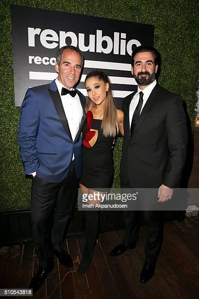 CEO of Republic Records Monte Lipman Recording artist Ariana Grande and Ayman Hariri attend the Republic Records Grammy Celebration presented by...
