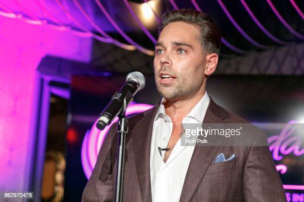 CEO of Rhonda's Kiss Charity Kyle Stefanski speaks on stage at An Evening With Rhonda's Kiss Charity at Beauty Essex on October 18 2017 in Los...