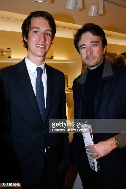 CEO of Rimowa Alexandre Arnault and Antoine Arnault attend the Opening of the Boutique Rimowa 73 Rue du Faubourg Saint Honore in Paris on March 6...