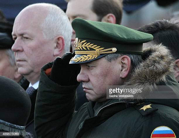CEO of Rostec Corporation Sergey Chemezov and Russian Defence Minister Sergey Shoihu attend the funeral ceremony for Mikhail Kalashnikov at the...