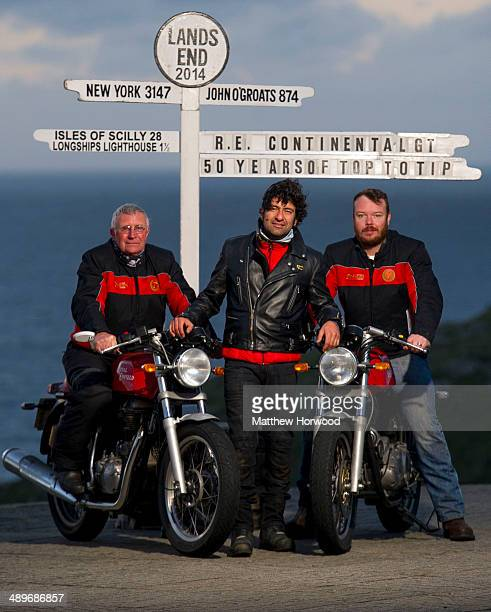 CEO of Royal Enfield Siddhartha Lal with Royal Enfield riders Tom Bray and Dan Cartwright on May 11 2014 in Land's End England Royal Enfield...