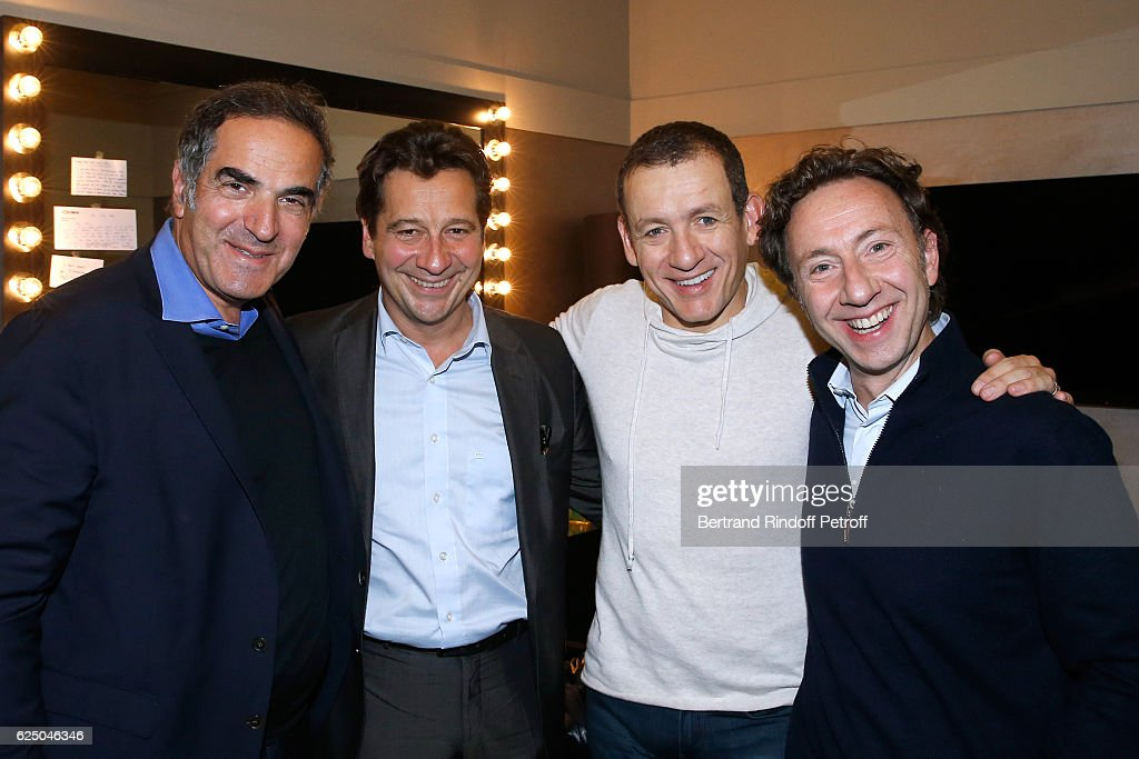 CEO of RTL France Radio, Christopher Baldelli, Laurent Gerra, Dany Boon and Stephane Bern pose Backstage after the 'Dany De Boon Des Hauts-De-France' Show at L'Olympia on November 16, 2016 in Paris, France.
