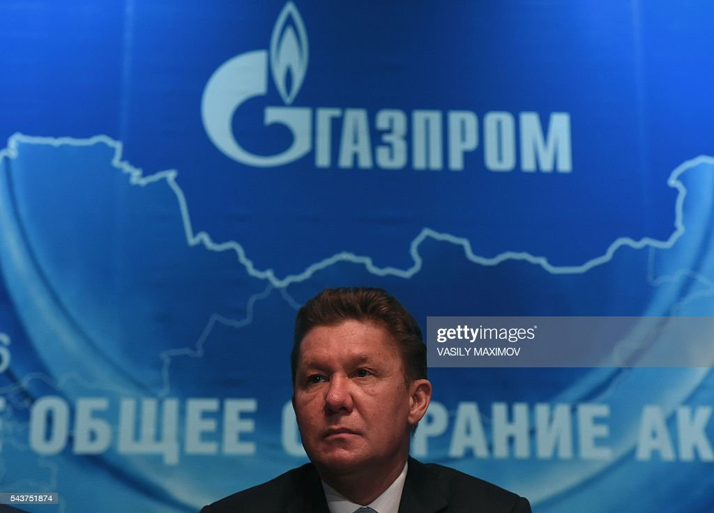 CEO of Russian gas giant Gazprom, Alexei Miller, attends the annual meeting of the company's shareholders in Moscow on June 30, 2016. / AFP / VASILY