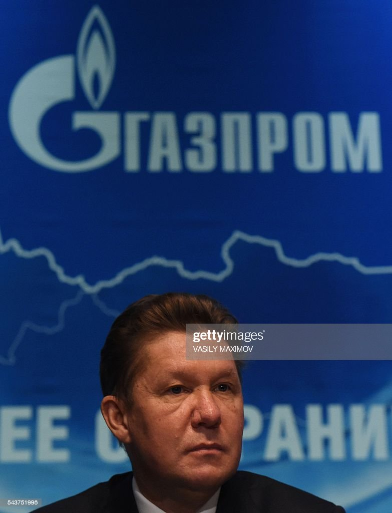 CEO of Russian gas giant Gazprom, Alexei Miller attends the annual meeting of the company's shareholders in Moscow on June 30, 2016. / AFP / VASILY