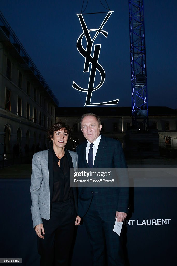 CEO of Saint-Laurent Francesca Bellettini and CEO of Kering Group, Francois-Henri Pinault attend the Saint Laurent show as part of the Paris Fashion Week Womenswear Spring/Summer 2017 on September 27, 2016 in Paris, France.