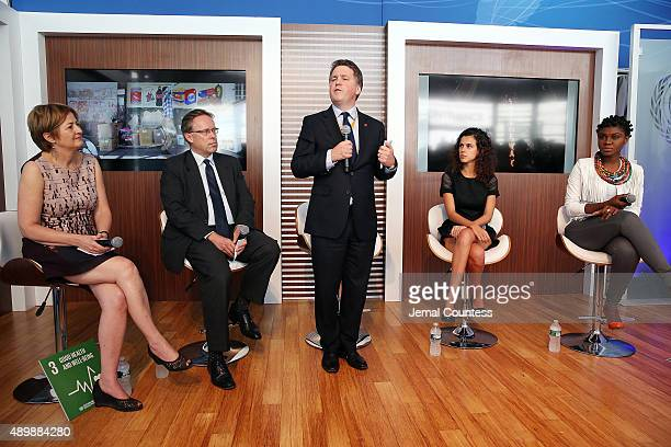 CEO of Save the Children Justin Forsyth speaks at the premiere of Global Goals 60 second Cinema Ad at the United Nations on September 24 2015 in New...