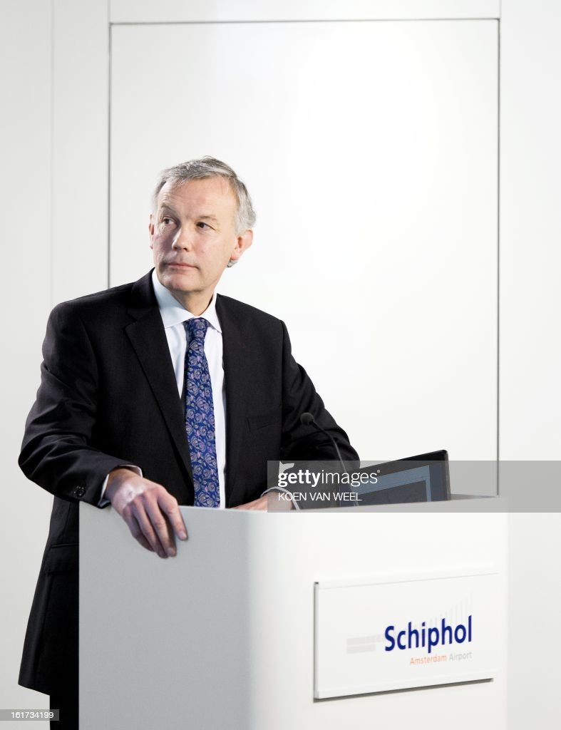 CEO of Schiphol Group Jos Nijhuis from Netherlands gives a press conference focused on the 2012 company figures at Schiphol, on February 15, 2013. The number of passengers at Schiphol airport increased last year to a new record of 51 million. AFP PHOTO / ANP KOEN VAN WEEL