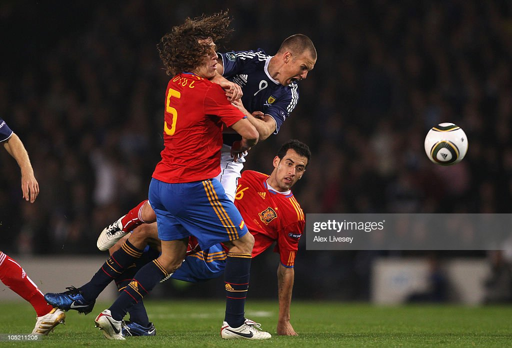 of Scotland of Spain during the UEFA EURO 2012 Group I Qualifier match between Scotland and Spain at Hampden Park on October 12 2010 in Glasgow...