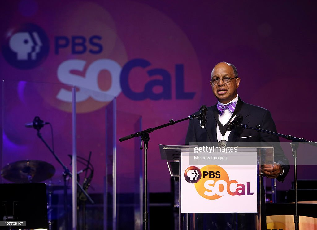 CEO of Sesame Workshop H. Melvin Ming accepting an award on behalf of Sesame Workshop at the PBS SoCaL Presents the 2012 Masterpiece Ball on May 5, 2012 at the Atlantic Aviation Hanger in Santa Ana, California.