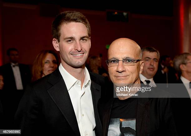 CEO of Snapchat Evan Spiegel and music producer Jimmy Iovine attend the PreGRAMMY Gala and Salute to Industry Icons honoring Martin Bandier at The...
