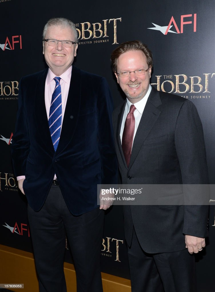 CEO of Sony Corp Sir Howard Stringer (L) and AFI president Bob Gazzale attend 'The Hobbit: An Unexpected Journey' New York premiere benefiting AFI at Ziegfeld Theater on December 6, 2012 in New York City.