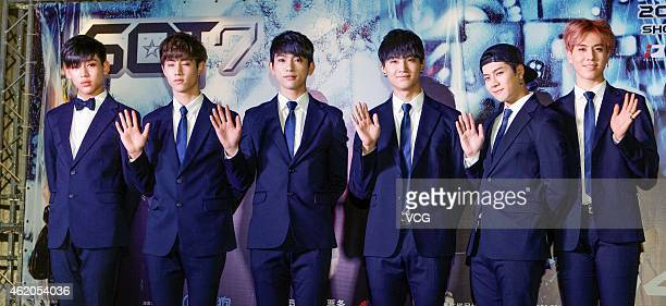 GOT 7 of South Korea GOT 7 attend press conference held for their concert's debut on January 23 2015 in Shanghai China