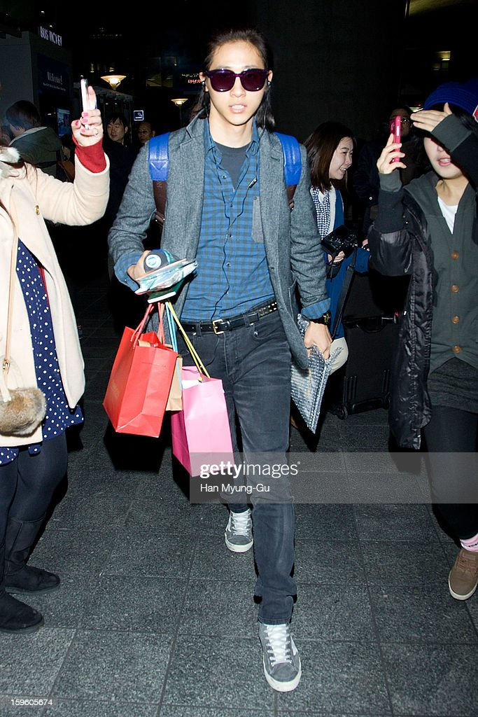 CNU of South Korean boy band B1A4 is seen at Incheon Inaternational Airport on January 16, 2013 in Incheon, South Korea.
