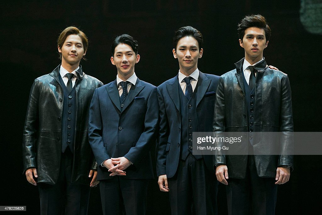 CNU of South Korean boy band B1A4, Jo Kwon of South Korean boy band 2AM, <a gi-track='captionPersonalityLinkClicked' href=/galleries/search?phrase=Key+-+Korean+Singer&family=editorial&specificpeople=12538635 ng-click='$event.stopPropagation()'>Key</a> of South Korean boy band SHINee and Ken of South Korean boy band VIXX attend the press call Musical 'CHESS' on June 23, 2015 in Seoul, South Korea.