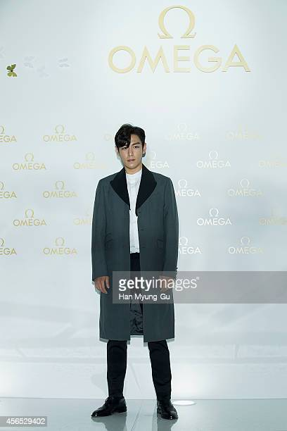 of South Korean boy band Bigbang attends the OMEGA De Ville Prestige 'Butterfly' launch at DDP on October 2 2014 in Seoul South Korea