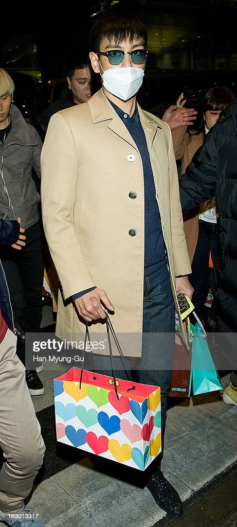 of South Korean boy band Bigbang is seen upon arrival from China at Incheon International Airport on March 3, 2013 in Incheon, South Korea.