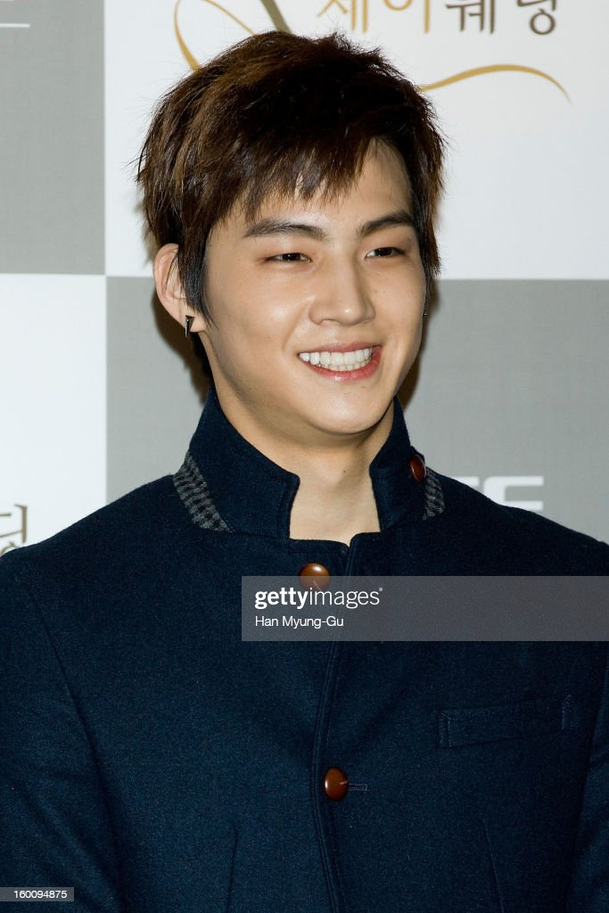 JB of South Korean boy band JJ Project attends the wedding of Sun of Wonder Girls at Lotte Hotel on January 26, 2013 in Seoul, South Korea.