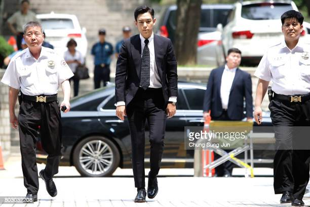 P of South Korean boyband Big Bang arrives at the Seoul Central District Court for hearing on his marijuana usage case on June 29 2017 in Seoul South...