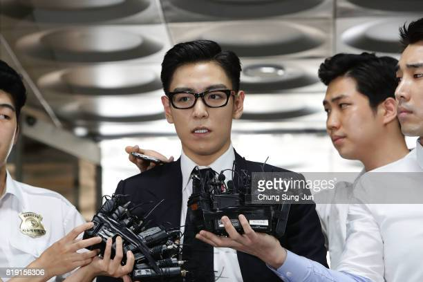 P of South Korean boyband Big Bang arrives at the Seoul Central District Court for hearing on his marijuana usage case on July 20 2017 in Seoul South...