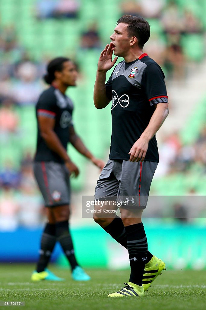 of Southampton shouts during the friendly match between FC Groningen an FC Southampton at Euroborg Stadium on July 30 2016 in Groningen Netherlands