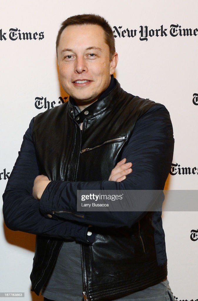CEO & CTO of SpaceX and CEO & Chief Product Architect of Tesla Motors <a gi-track='captionPersonalityLinkClicked' href=/galleries/search?phrase=Elon+Musk&family=editorial&specificpeople=4448862 ng-click='$event.stopPropagation()'>Elon Musk</a> attends the New York Times 2013 DealBook Conference in New York at the New York Times Building on November 12, 2013 in New York City.
