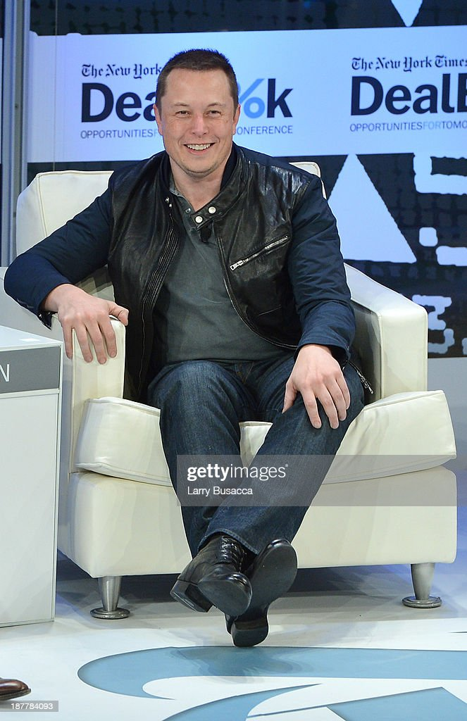 CEO & CTO of SpaceX and CEO & Chief Product Architect of Tesla Motors <a gi-track='captionPersonalityLinkClicked' href=/galleries/search?phrase=Elon+Musk&family=editorial&specificpeople=4448862 ng-click='$event.stopPropagation()'>Elon Musk</a> participates in a discussion at the New York Times 2013 DealBook Conference in New York at the New York Times Building on November 12, 2013 in New York City.
