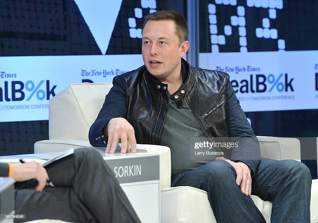 CEO & CTO of SpaceX and CEO & Chief Product Architect of Tesla Motors Elon Musk participates in a discussion at the New York Times 2013 DealBook Conference in New York at the New York Times Building on November 12, 2013 in New York City.