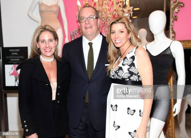 CEO of Spanx Laurie Ann Goldman Vice Chairman and Chief Merchant of Saks Fifth Avenue Ron Frasch and Sara Blakely attend the launch of Haute Contour...