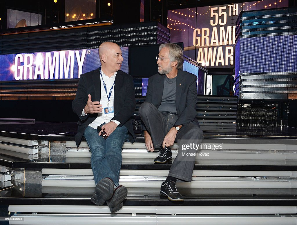 EVP of Specials, Music and Live Events for CBS Entertainment, Jack Sussman (L) and President/CEO of The Recording Academy <a gi-track='captionPersonalityLinkClicked' href=/galleries/search?phrase=Neil+Portnow&family=editorial&specificpeople=208909 ng-click='$event.stopPropagation()'>Neil Portnow</a> attend rehearsals for The 55th Annual GRAMMY Awards at Staples Center on February 7, 2013 in Los Angeles, California.