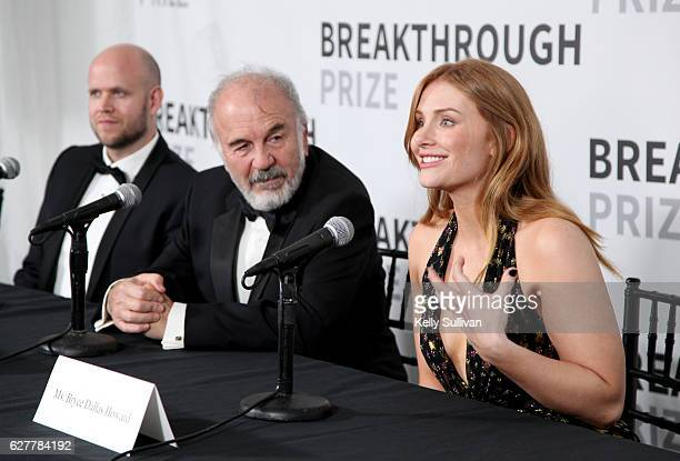 CEO of Spotify Daniel Ek 2017 Breakthrough Prize winner Harry Noller and actress Bryce Dallas Howard speak during the 2017 Breakthrough Prize at NASA...