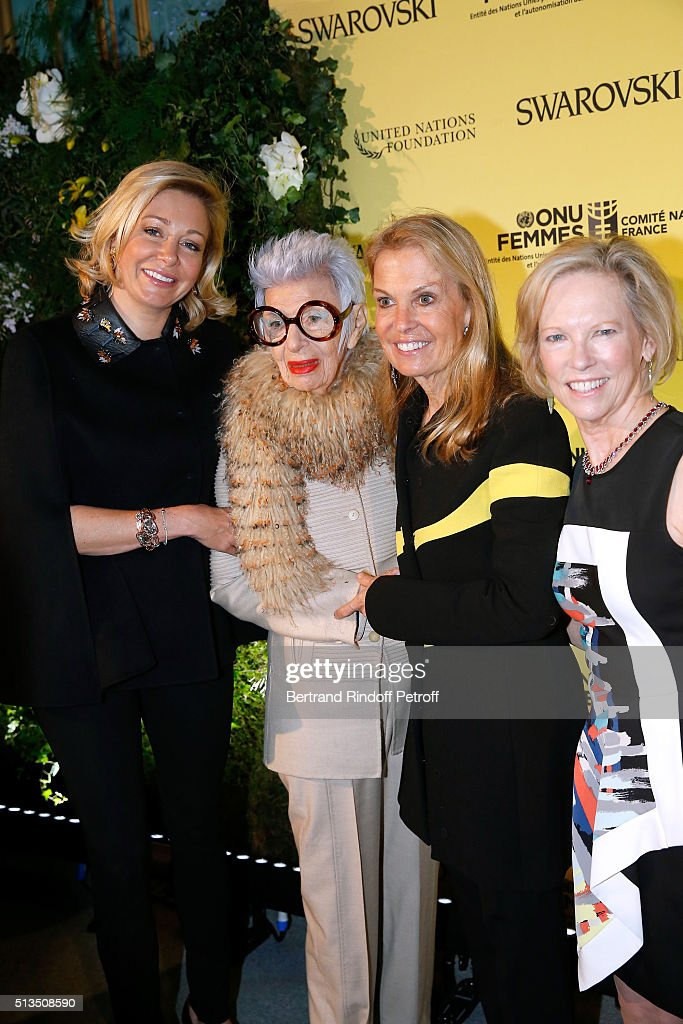 CEO of Swarovski UK Ltd, <a gi-track='captionPersonalityLinkClicked' href=/galleries/search?phrase=Nadja+Swarovski&family=editorial&specificpeople=653118 ng-click='$event.stopPropagation()'>Nadja Swarovski</a>, Fashion Icon, Ms. <a gi-track='captionPersonalityLinkClicked' href=/galleries/search?phrase=Iris+Apfel&family=editorial&specificpeople=612628 ng-click='$event.stopPropagation()'>Iris Apfel</a>, Ambassador of USA in France, <a gi-track='captionPersonalityLinkClicked' href=/galleries/search?phrase=Jane+D.+Hartley&family=editorial&specificpeople=13755383 ng-click='$event.stopPropagation()'>Jane D. Hartley</a> and President and Chief Executive Officer of the United Nations Foundation, Kathy Calvin attend the 'International Women's Day Luncheon in Support of Equality and Safety for All' as part of the Paris Fashion Week Womenswear Fall/Winter 2016/2017. Held at the Residence of US Ambassador to France hosted by Swarovski on March 3, 2016 in Paris, France.