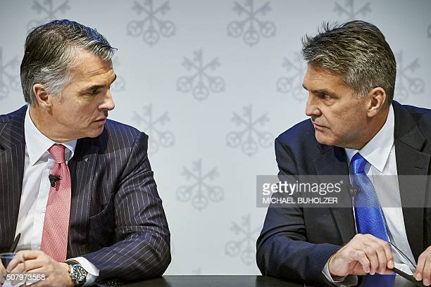 CEO of Swiss banking giant UBS Sergio Ermotti and Group Chief Financial Officer Kirt Gardner attend the presentation of UBS's fourth quarter 2015...