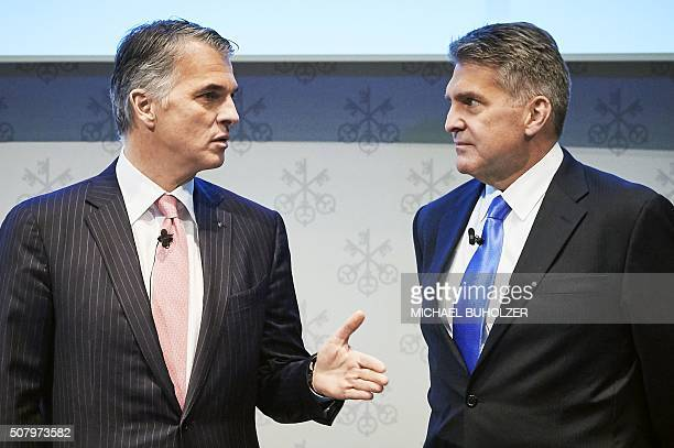 CEO of Swiss banking giant UBS Sergio Ermotti and Group Chief Financial Officer Kirt Gardner speak during the presentation of UBS's fourth quarter...