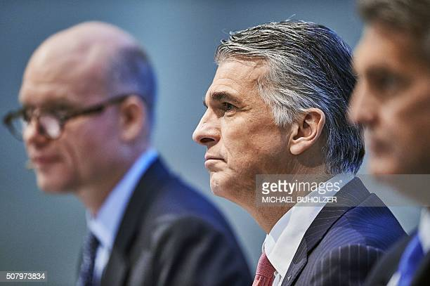 CEO of Swiss banking giant UBS Sergio Ermotti and Group Head of Communications Hubertus Kuelps attend the presentation of UBS's fourth quarter 2015...