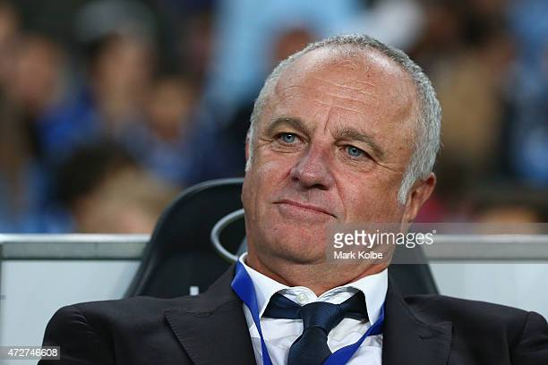 of Sydney FC coach Graham Arnold watches on from the bench before kickoff during the ALeague Semi Final match between Sydney FC and Adelaide United...